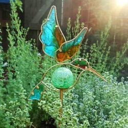 solar hummingbird garden stake