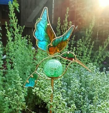 A Solar Hummingbird Garden Stake Lights My Garden