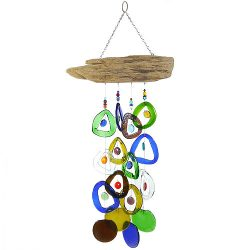 colored glass wind chimes