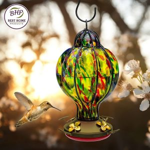 hand blown glass hummingbird feeders